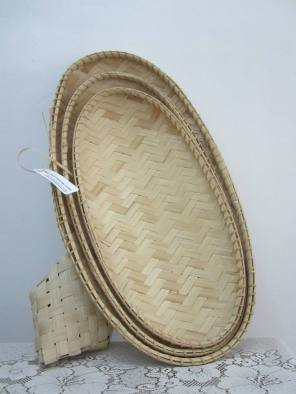 Bamboo Oval Tray. Set of three. The first samples were sold to Marian Brina of the International Montessori School of Beijing.