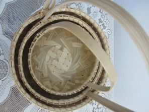 Bamboo Flower Basket - details. Set of three. First buyer of the first samples: Marian Brina for a classroom at the International Montessori School of Beijing
