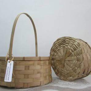 Round Bamboo Baskets. Set of two.