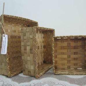 Square bamboo baskets. Set of three.
