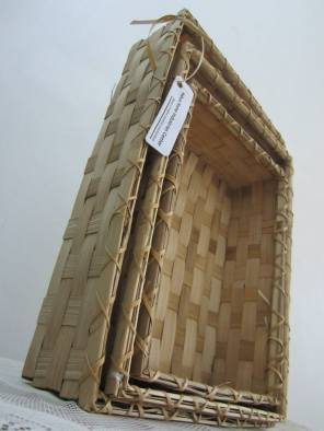 Rectangular bamboo baskets -details. Set of three.