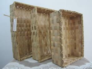 Rectangular bamboo baskets. Set of three.