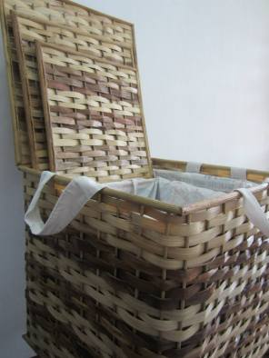 Striped Hampers - Set of Three Materials: Bamboo Strips, Manila Hemp, Rattan Design: Lydia Docot The first samples were sold to Ma Sheila Fortuno of Ateneo de Naga University and Bicolano artist Berns Brijuega.