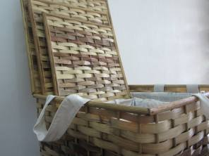 Striped Hampers - Set of Three Materials: Bamboo Strips, Manila Hemp, Rattan